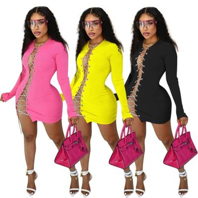 MOEN New Trendy Club Long Sleeve Quality Women Dresses Fashion Bandage Hollow Out Women Clothing Sexy Ladies Dress
