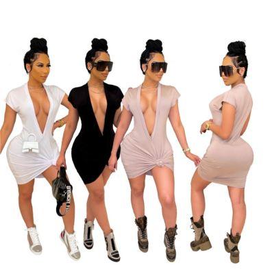 MOEN Trendy Women Clothing Casual V Neck Club Tshirt Dress Solid Color Summer Sexy Club Dresses 2021