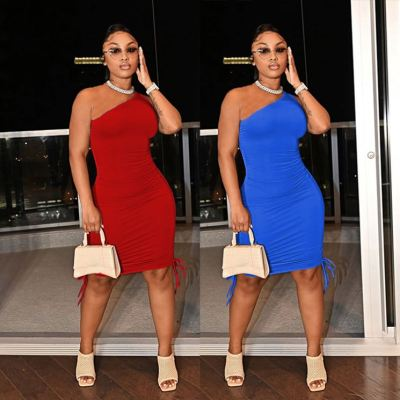 MOEN New Arrivals 2021 Party Club Dress One Shoulder Women Sexy Sleeveless Ruched Bodycon Solid Color Mini Dress