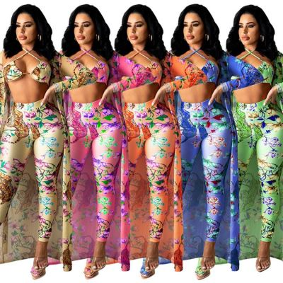 MOEN New Arrival Summer Long Sleeve Cardigan Trousers Halter Top Sexy Floral Print Three Piece Summer Sets Women Clothing