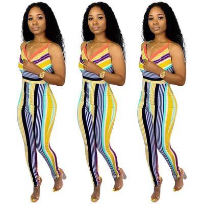 MOEN Hot Selling Streetwear Sexy Bandage Backless Jumpsuit Women Casual Stripe Jumpsuits For Women