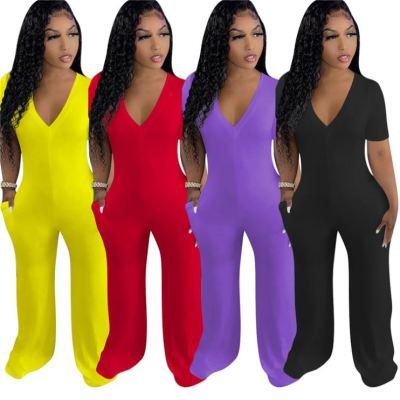 MOEN High Quality Streetwear Wide Leg Pants Women Jumpsuit 2021 Casual Solid Color Women Pant Jumpsuit