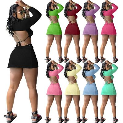 MOEN New Summer Backless Sexy Solid Color Mini Crop Tops Two Piece Split Skirt Long Sleeve Short Set