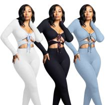 MOEN Solid Color Sexy Sets Women V - Neck Strappy Bra Trousers Two Piece Women Set