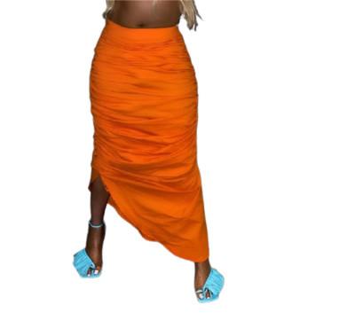MOEN Summer New Arrival 2021 Solid Color Pleated Sexy Women Drape Long Skirt Elastic Waist