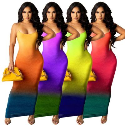 MOEN Best Design Summer Fashion Gradient Color Print Clothes Dresses Maxi Long Elegant Suspender Women Straight Dresses