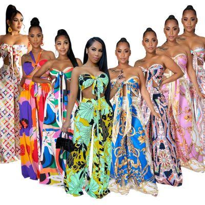 MOEN Fashion 2021 Strapless Wrap Tube Top Wide Leg Tropical Print Ladies Summer 2 Piece Set Clothing Women Sets Two Piece