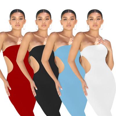 MOEN Latest Design One Shoulder Waist Hollow Out Fashion Simple Long Dress Summer Casial Pure Color Ladies Midi Dress