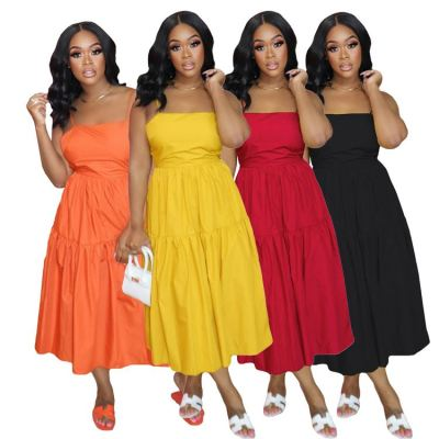 MOEN Fashion 2021 Spaghetti Strap Back Tie Summer Dress Womens Clothing L;Ady Elegant Pure Color A-Line Spliced Midi Dress