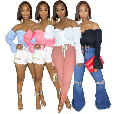 MOEN Trendy 2021 Off Shoulder Long Puff Sleeve Women Clothes Ladies Solid Color Tops Pleated Folded Drawstring Short Tops