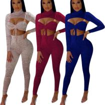MOEN New Arrival 2021 Solid Color Three Piece Sets Sexy Bra  Skinny Trousers Long Sleeve Top Three Piece Summer Sets