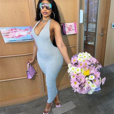 MOEN Hot Selling Halter Backless Lady Summer Long Dress Women 2021 Solid Color Sleeveless Straight Maxi Bodycon Dress
