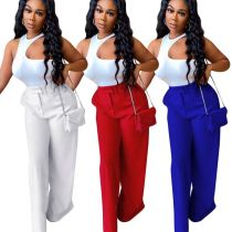 MOEN Fashion 2021 Halter 2 Piece Set Off The Shoulder Top Loose Trousers Womens Suits