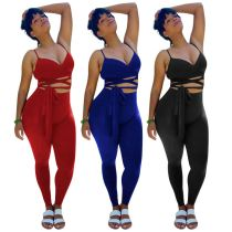 MOEN 2021 Best Seller Womens Suits Bandage Top Elastic Waist Trousers Solid Color Set Two Piece