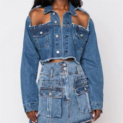 MOEN Hot Selling Long Sleeve Shoulder Hollow Out Design Women Jean Tops Summer Short Ladies Streetwear Denim Jacket Women