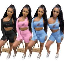 MOEN Summer New Arrival Hollow Out Sexy Solid Color Sets Backless Sets Womens Clothing Two Piece Fashion