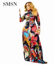 MOEN New Arrival Women Dress 2021 Zipper Design Long Sleeve Print Maxi Elegant Casual Floor-Length Dresses