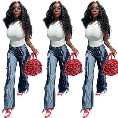 MOEN Amazon 2021 Vogue  Women Denim Jeans Blue Individuality Burrs Patchwork Denim Jeans