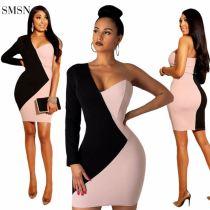 MOEN Best Seller Club Dresses Dissymmetry Unilateral Long Sleeve Patchwork Colors Stylish Sexy Slash Neck Dress