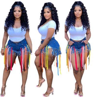 QUEENMOEN Design Individual Multicolored Lines Blue Ripped Tassel Jeans Denim Shorts Women