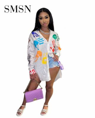 MOEN Hot Sale Long Sleeve White Stripe Shirt Clothes Women Casual Handprint Printing Ladies Long Tops Blouse For Women