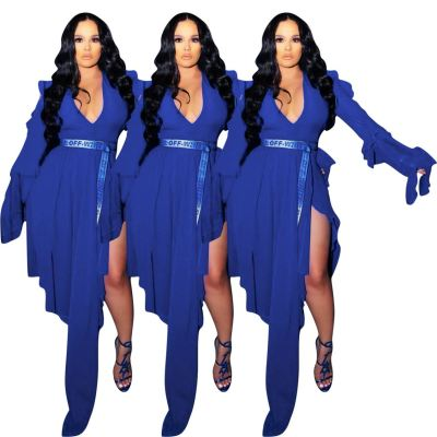 MOEN Floor-Length Blue Sexy Party Dress Flared Long Sleeves V-Neck Solid Color Women Dress