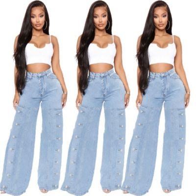 QUEENMOEN New Arrivals Fashion Button Split Outdoor Trousers Wide Leg Jeans Denim Pants Women