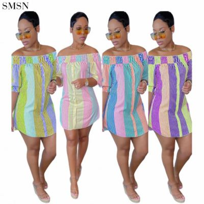 MOEN New Style Folds Summer Strapless Irregularity Colors Single Breasted Casual Dress