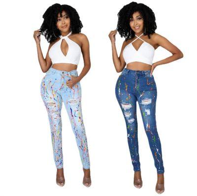 MOEN New Arrival 2021 Womens Jeans 2021 Colored Spots Abrasion Broken Hole Bodycon Pencil Denim Jeans
