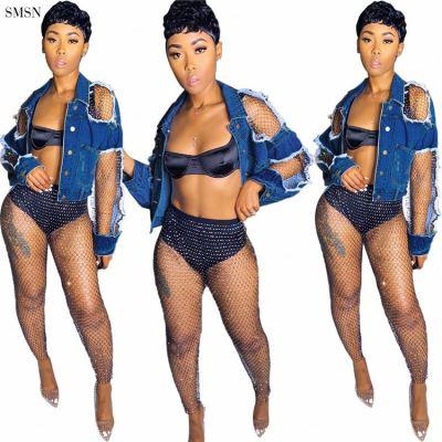 MOEN Best Design Denim Jacket For Women Stylish Net Yarn Broken Hole Blue Womens Denim Jacket