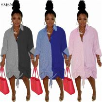 MOEN Latest Design Party Dress Shirt Long Sleeve Loose Lower Hem Stretch Splicing  Casual Dresses