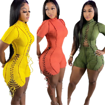 MOEN Lowest Price Sexy One Piece Solid Color Hollow Out Woman Bodycon Jumpsuits Burrs Bandage Sexy Jumpsuits