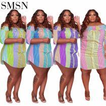 MOEN New Arrival Dresses Women 2021 Folds Summer Strapless Irregularity Colors Single Breasted Plus Size Dress