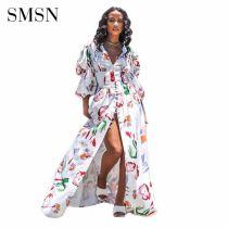 MOEN Fashion Sexy Dresses 2021 V - Neck Sexy Bubble Sleeve Print Single Breasted Split Fork Maxi Floor-Length Dresses