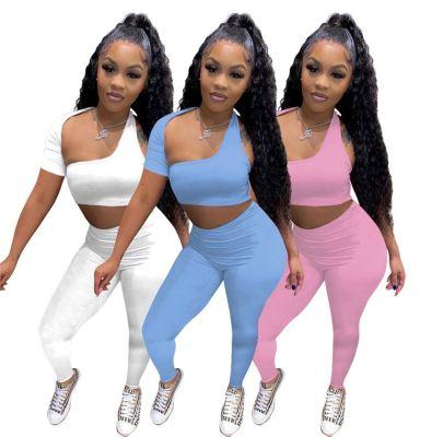 MOEN Hot Sale Two Piece Pants Set Summer Short Sleeve Slash Neck Women Top Elastic Waist Trousers Solid Color Pants Set