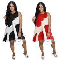 MOEN Newest Design Women Dress 2021 Summer Woman Casual Dress Sleeveless O Neck Loose Unique Dresses
