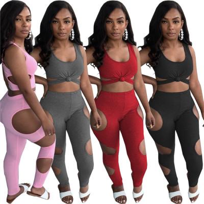 MOEN Hot Sale Hollow Out Crop Top Legging Two Peice Summer Solid Color Design Lounge Wear Women Two Piece Pant Sets