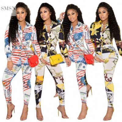 MOEN Trendy 2021  Fashion Print 2 Piece Pants Set Women Fall Women Pant And Button Shirt Two Piece Set