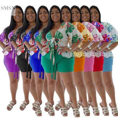 MOEN Good Quality V Neck Print Shirt Two Piece Set 2021 Plus Size Summer Women Clothing 2 Piece Set
