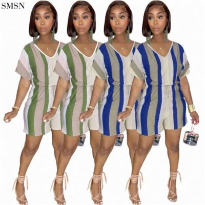 QUEENMOEN Wholesale Casual Womens Fitness Striped Lace Up V Neck Short Sleeve One Piece Wide Leg Jumpsuit