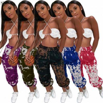 QUEENMOEN Women Clothing High Waist Tie Dye Sports Trousers Casual Drawstring Women Pants
