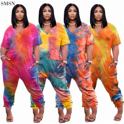 QUEENMOEN Women Clothing Plus Size One Piece Jumpsuit With Pockets Casual Short Sleeve V Neck Women Tie Dye Jumpsuits