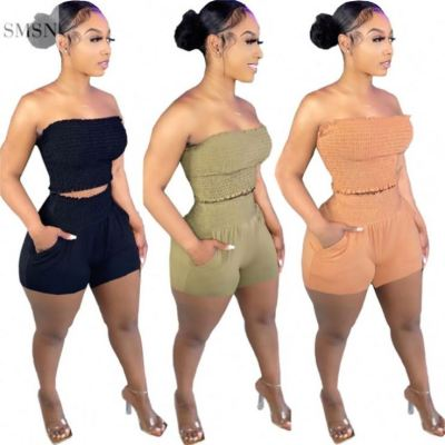MOEN New Arrival Off The Shoulder Fold Design Sets Womens Clothing Two Piece Fashion Two Piece Casual Short Set