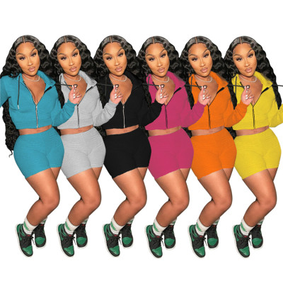 MOEN Fashion 2021 2 Piece Set Women Sport Jogging Sets Clothing Turn - Down Collar Coat Solid Color Shorts