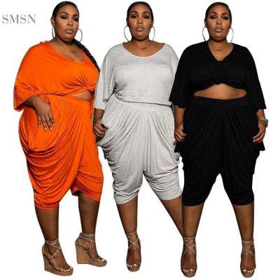 MOEN Fashion 2021 High Quality O Neck Loose Jogging Sets Cotton Women Plain Summer Plus Size Clothes 2Pcs Sets