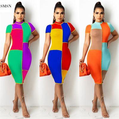 MOEN Hot Sale Women Summer Dress 2021 Contrast Color Splicing Sexy Bodycon Dress Women dresses women casual
