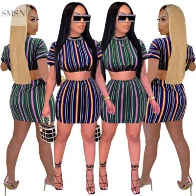 MOEN Good Quality Womens Crop Top And Pants 2 Piece Set Clothing Stripe Casual Womens Loose Sets