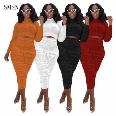 MOEN Hot Sale Sexy 2 Piece Set Women Autumn Long Sleeve Crop Top Clothing Solid Color Drape Two Suit Pants