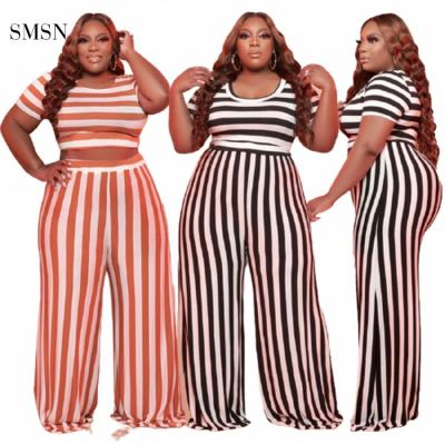 MOEN New Style Short Sleeve Plus Size 2 Piece Sets Mopping Trousers Striped Sexy 2 Piece Outfits Set Women