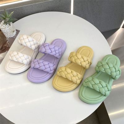 1071943 Wholesale New Solid Round Toe House Slippers Knitted Flat Vintage Slippers